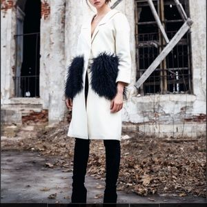 Bella Potemkina Wool-blend Black Coat with Fur